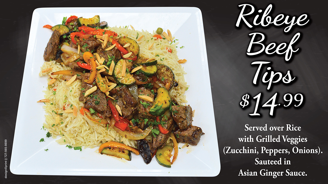 Ribeye Beef Tips $14.99 | Served over Rice with Grilled Veggies (Zucchini, Peppers, Onions). Sautéed in Asian Ginger Sauce.