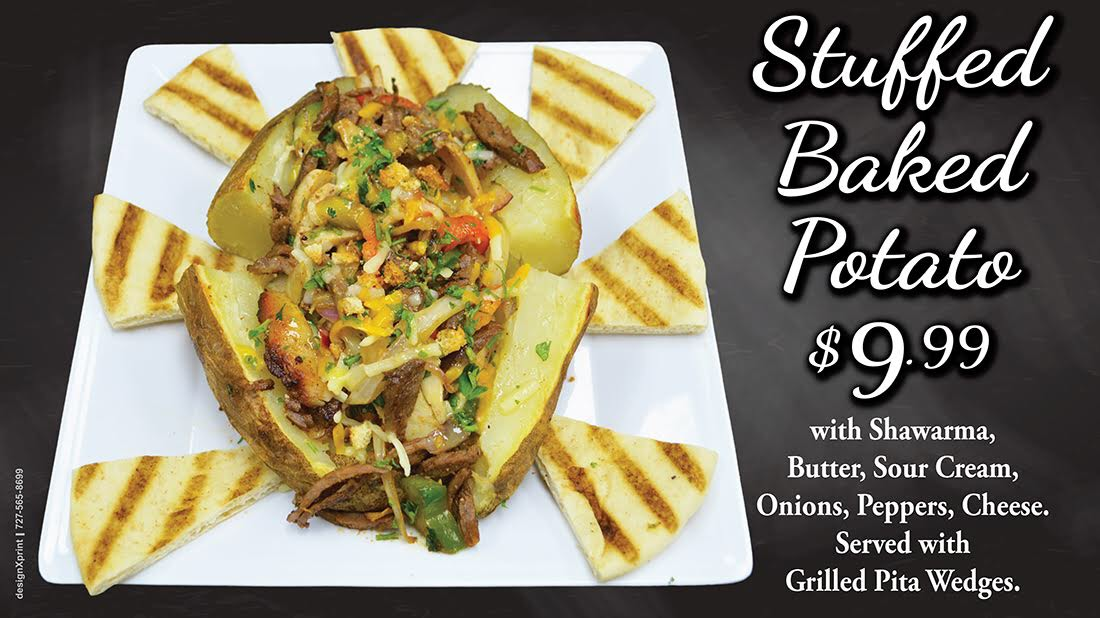 Stuffed Baked Potato $9.99 | with Shawarma, Butter, Sour Cream, Onions, Peppers, Cheese, Served with Gilled Pita Wedges.